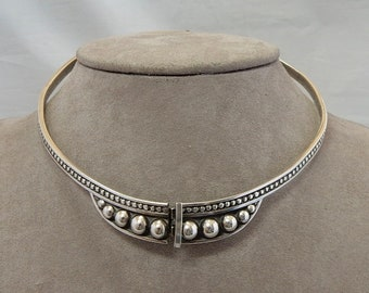 9c4df451d MARGOT DE TAXCO Signed Sterling Silver Hinged Collar Necklace Taxco, Mexico  QJ16