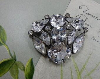 1940s Signed EISENBERG Sterling Silver and  Rhinestone Screw Back Earrings    OEL40