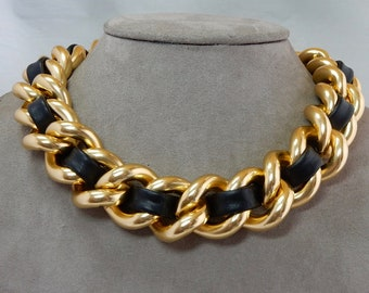 7696aa2cfc8 Chunky Gold Chain   Black Leather Biker Necklace from EP Erwin Pearl QAB3