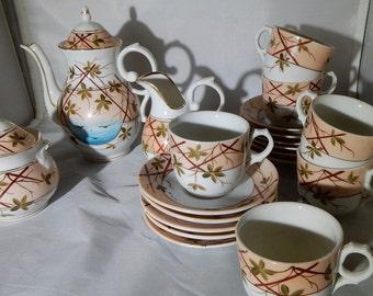 Antique 22 pc German Hand Painted Childs Tea Set Aesthetic Sprig Design     NAT19