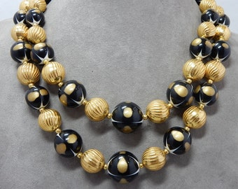 Chunky 2 Strand TRIFARI Black & Gold Bead Necklace and Clip Earring Set    PAH6