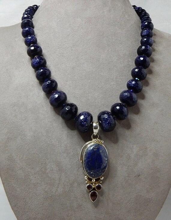 Blue Stone Pendant Gemstone Appeal Genuine Sandstone GSA Gemstone Point Sterling Necklace Blue Sandstone Necklace Healing Gemstone