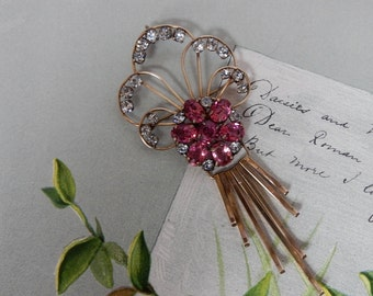 Signed 12k Gold Filled & Pink Rhinestone Flower Brooch w/ Dangles    NCD15