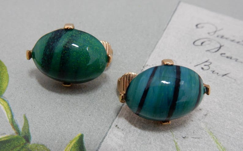 EISENBERG Signed Marbled Green Turtle Figural Brooch /& Earrings Set    PG9