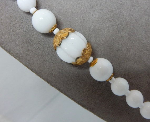 Miriam Haskell Signed Necklace Milk Glass Beads Triple Strand 17.5