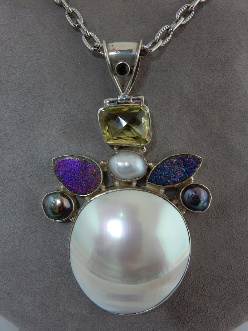 Sterling Silver /& Mobe Pearl Pendant wCitrine   SJ5