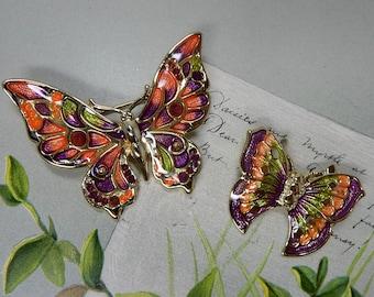 2 DANECRAFT Gold & Enamel Butterfly Brooch or Pin Set PBF15