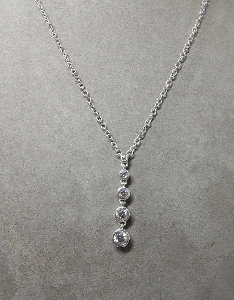 80c83d68c8f4f JUDITH RIPKA Signed Sterling Silver & Cubic Zirconia Pendant Necklace PCD25