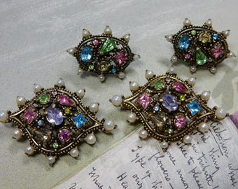 Signed HOLLYCRAFT Multi Color Double Brooch & Earrings Set    ODQ7
