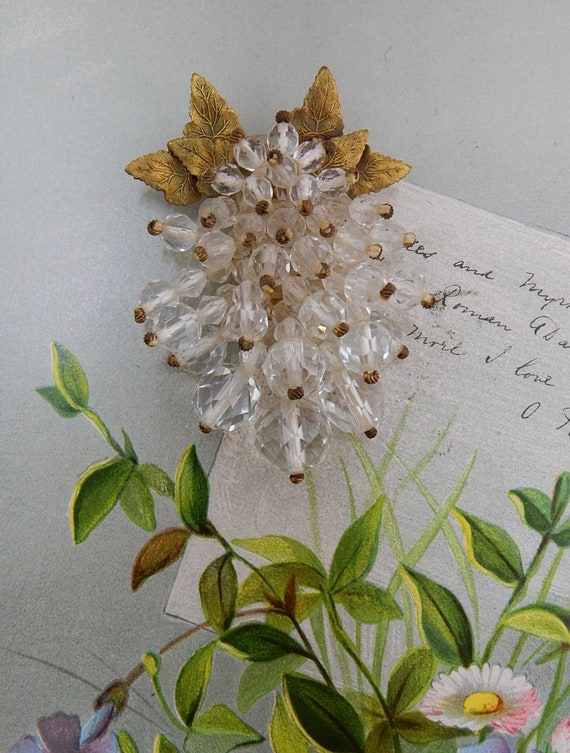 MIRIAM HASKELL Crystal Bead & Russian Gold Leaves