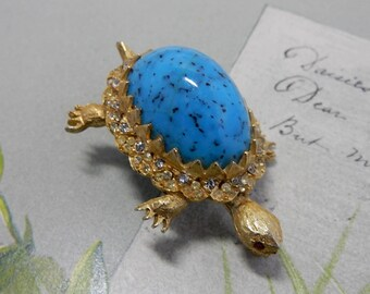 Vintage Signed HAR Turtle Brooch w/ Turquoise Cabochon    PM20