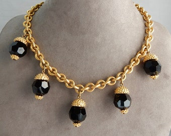 ANNE KLEIN Signed Black Crystal Dangle & Matte Gold Chain Necklace w/ Lion Logo   PDQ47