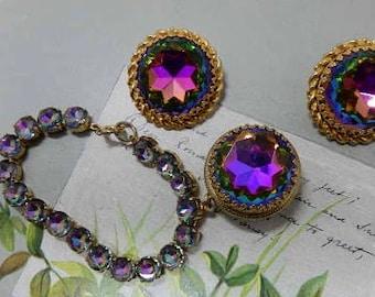 ELSA SCHIAPARELLI Signed Bracelet & Clip On Earrings Set w/ Watermelon Heliotrope Fob    OAE19