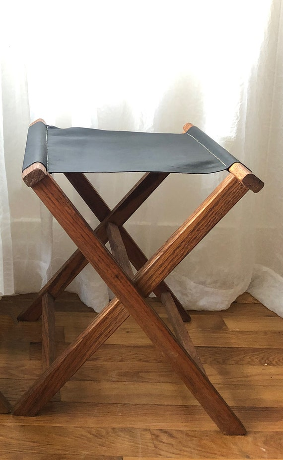 Phenomenal Leather Repurposed Vintage Folding Camp Stool Black Leather Pabps2019 Chair Design Images Pabps2019Com