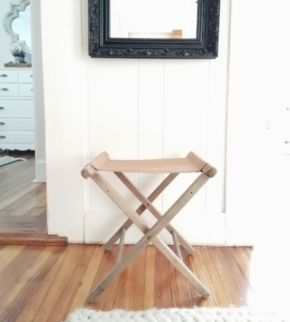 Incredible Leather Repurposed Vintage Folding Camp Stool Gmtry Best Dining Table And Chair Ideas Images Gmtryco