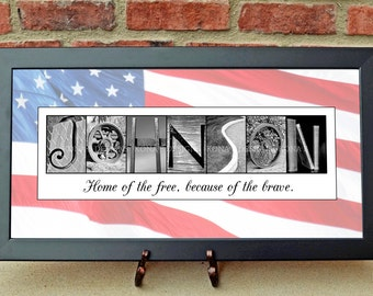 Veteran's Gifts - Personalized Gifts for Vets - Patriotic Gifts - Alphabet Photography, Photo Name Art, Wedding Signage, 10x20 Print