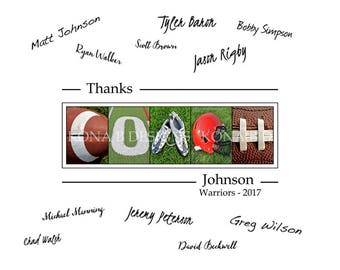Personalized Coach's gift - Football coach gift - Team signatures - 11x14- Football team gift