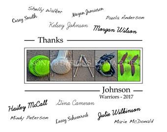 Personalized Coach's gift - Softball coach - Team signatures - 11x14- Softball team gift