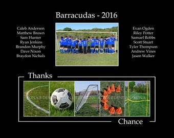 Personalized Coach's gift - Soccer coach - Team Photo - 11x14
