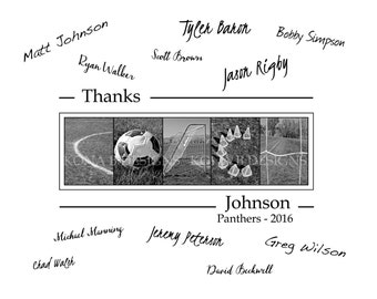 Personalized Coach's gift - Soccer coach - Team signatures - 11x14