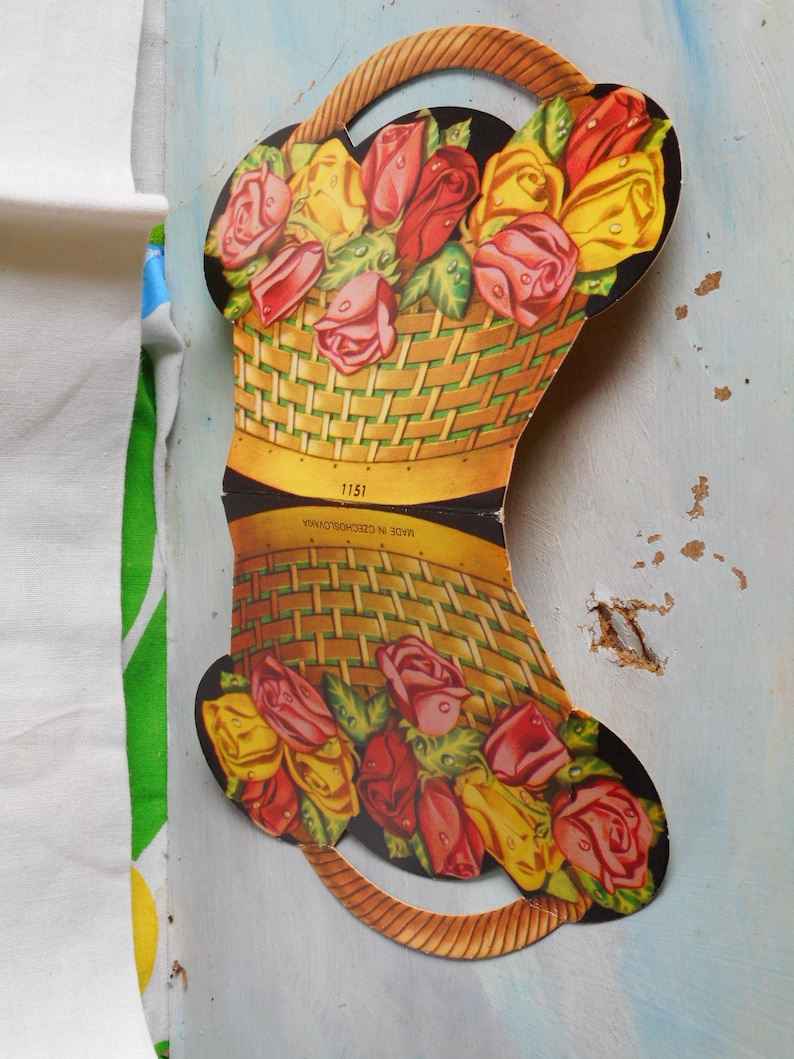 Great Graphics and Color. Vintage Needle Book Basket of Roses Made in Czechoslovakia