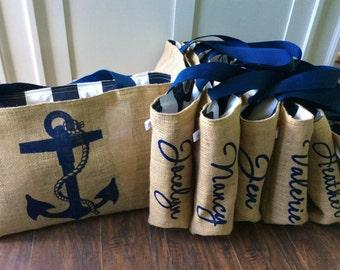 Handmade Personalized Monogram Semi Custom Destination Wedding Welcome Burlap Market Tote Bags - Bridesmaid Gifts