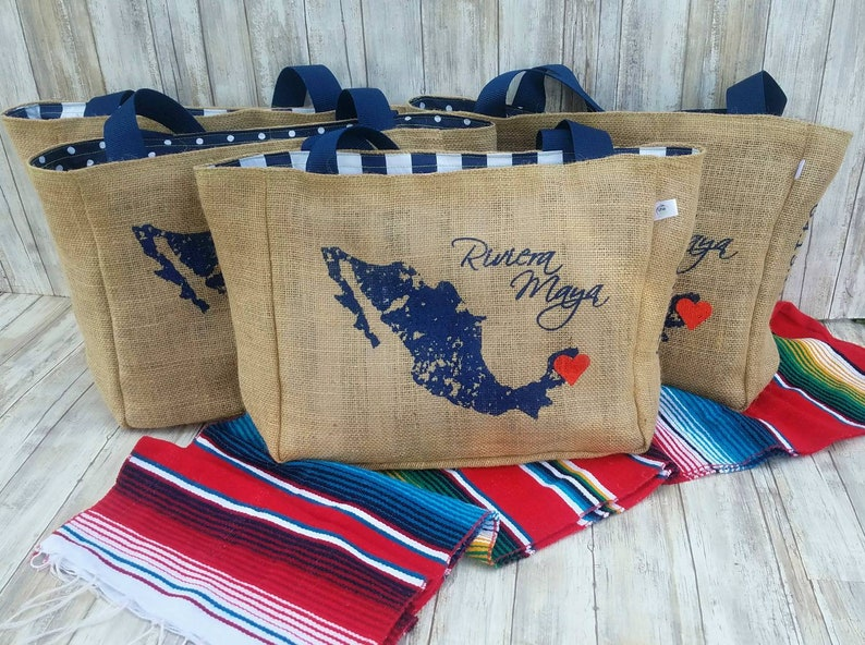 Custom Destination Wedding Welcome Beach Tote Bags Handmade Favors or Bridesmaids Gifts CC Or Add Your City 5+ Riviera Maya Mexico