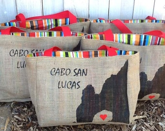 5+ Cabo San Lucas Arch - Destination Custom Wedding Welcome Burlap Tote Bags - Handmade Favors or Bridesmaids Gifts