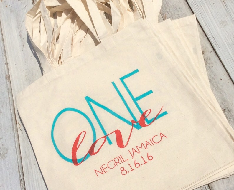 20 One Love Jamaica Custom Canvas Destination Wedding Welcome Tote Bags Eco-Friendly Natural Cotton Canvas