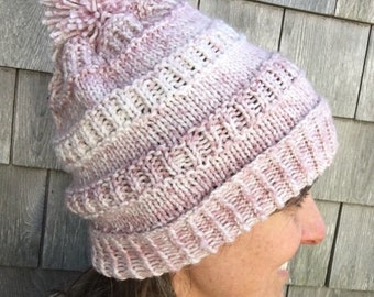 Adult Pink Knitted Winter Hat
