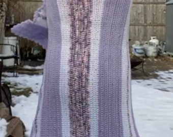 Purple and White Afghan Lap Blanket Throw