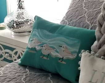 Embroidered Sandpiper Lumbar Pillow 12x16 - Coastal Decor - Linen