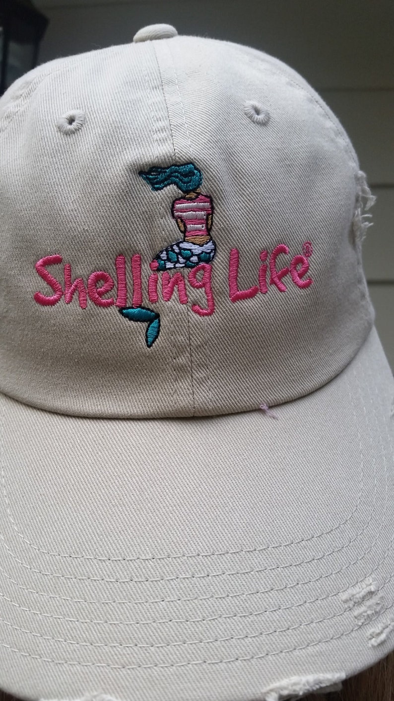 Beach Mermaid Hat  Embroidered Hat  Shelling Life® image 0