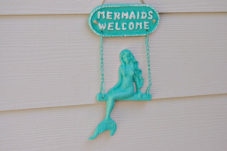Beach Welcome Sign and Wall Decor  Mermaid Welcome Sign image 0