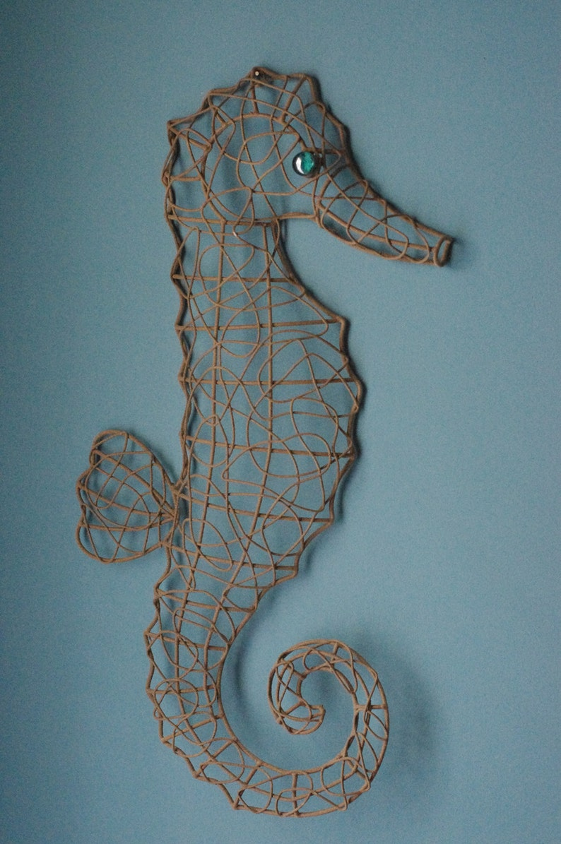 Seaside Metal Wire Seahorse  Sandy Textured with Turquoise image 0