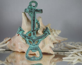 Cast Iron Green Patina Anchor Bottle Opener - READY TO SHIP