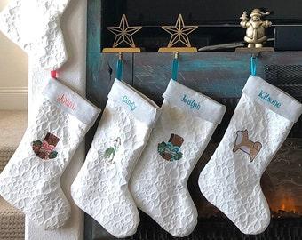 Beach Cottage Embroidered Christmas Stockings - Coastal Decor - Coastal Christmas - Holiday Decor