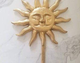 Cast Iron Sun Face Wall Hook Home Decor - Pick your color