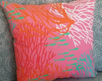 Vivid Coral Reef Throw Pillow - Coastal Decor Pillow