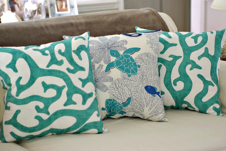 Beach House Decor Coral Reef 18x18 Throw Pillow  PICK FABRIC image 0