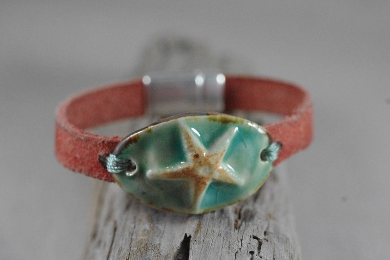 Starfish or Sanddollar Ceramic and Leather Bracelet  Leather image 0