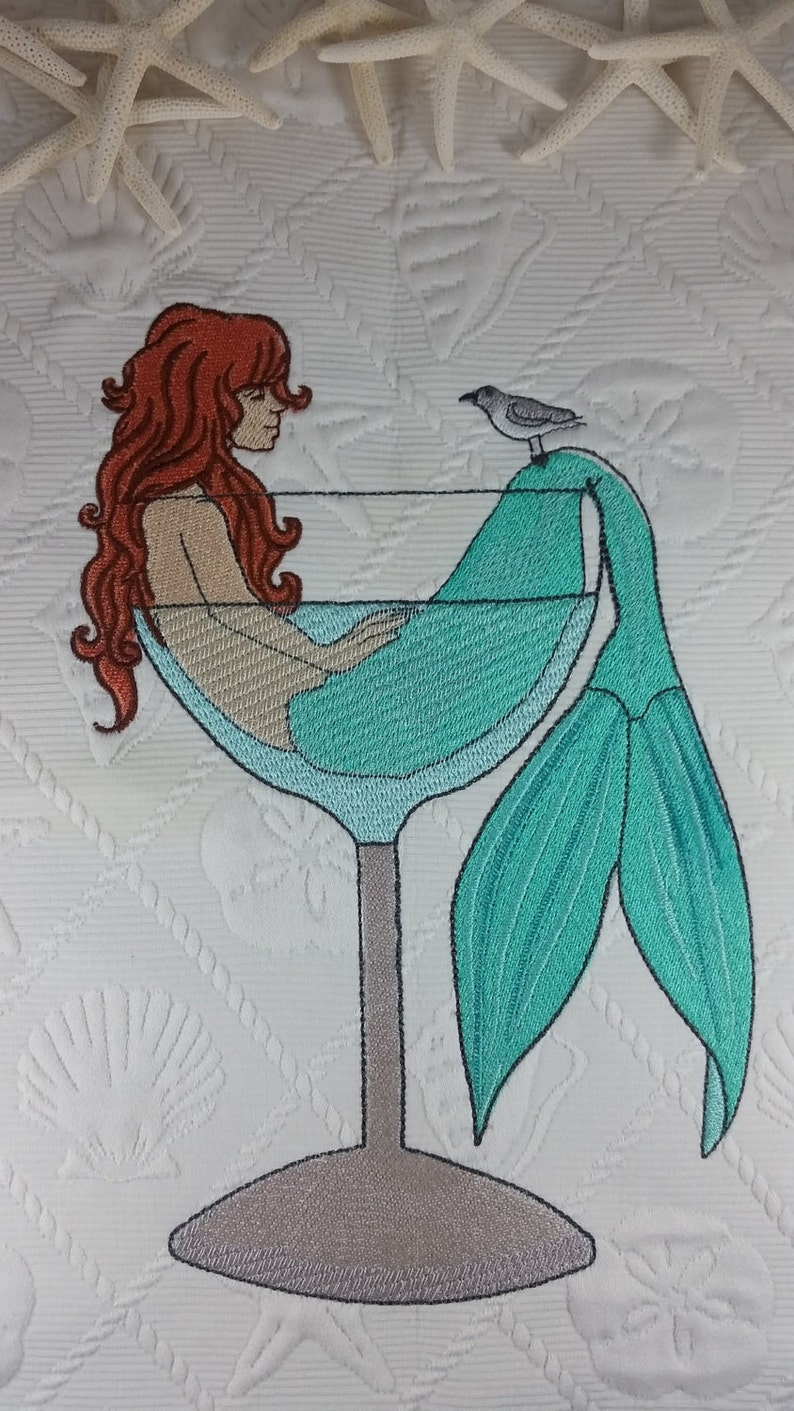 Embroidered Mermaid in a Martini Glass  Beach Decor Pillow image 0