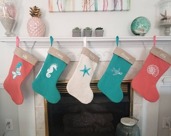 Beach Cottage Linen Christmas Stockings - Coastal Decor - Coastal Christmas - Holiday Decor