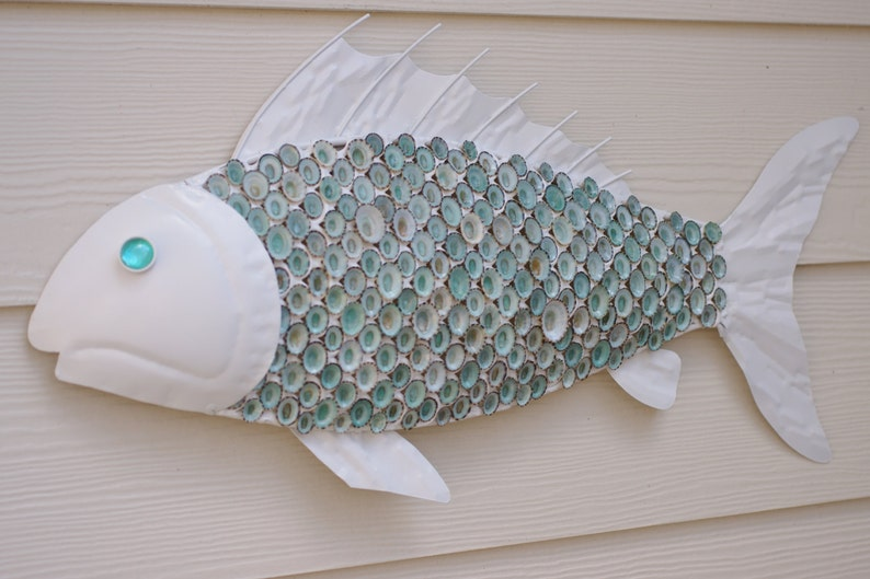 Nautical Wall Decor Metal Fish with Aqua Limpet Shell Scales  image 0