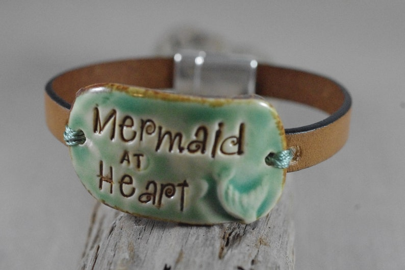 Mermaid at Heart Ceramic and Leather Bracelet  Leather image 0