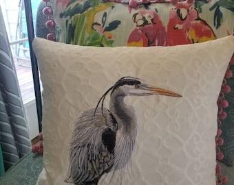 Embroidered Blue Heron Pillow - Shore Bird - Beach Decor