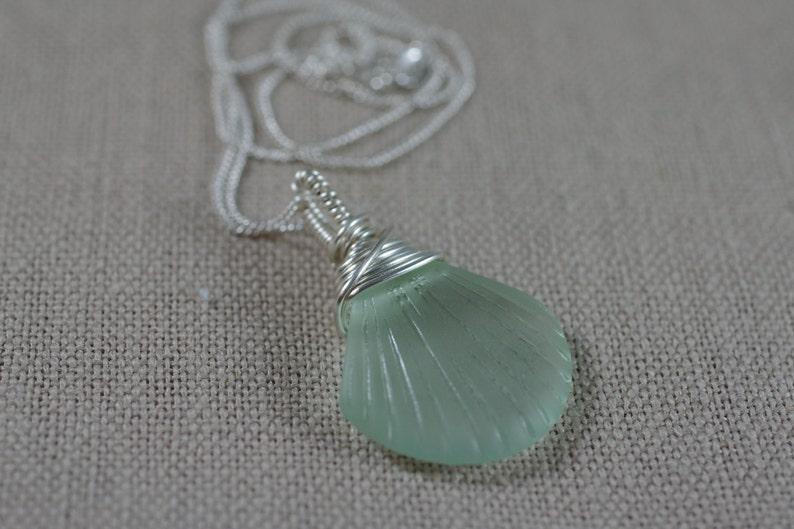 Scallop Seashell Sea Glass Necklace  Aqua Pink or Turquoise image 0
