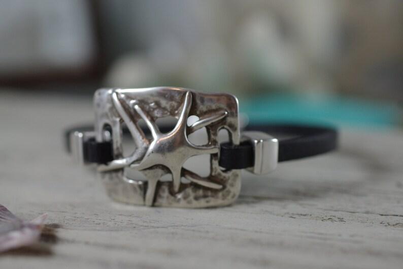 Silver Double Starfish Bracelet  Leather Jewelry  Beach image 0