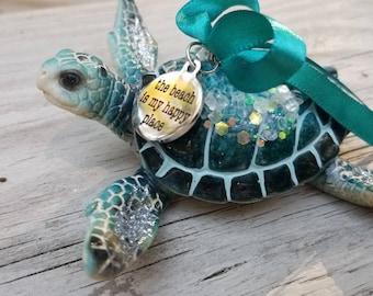 Sea Turtle Christmas Ornament - Beach is My Happy Place - Coastal Christmas