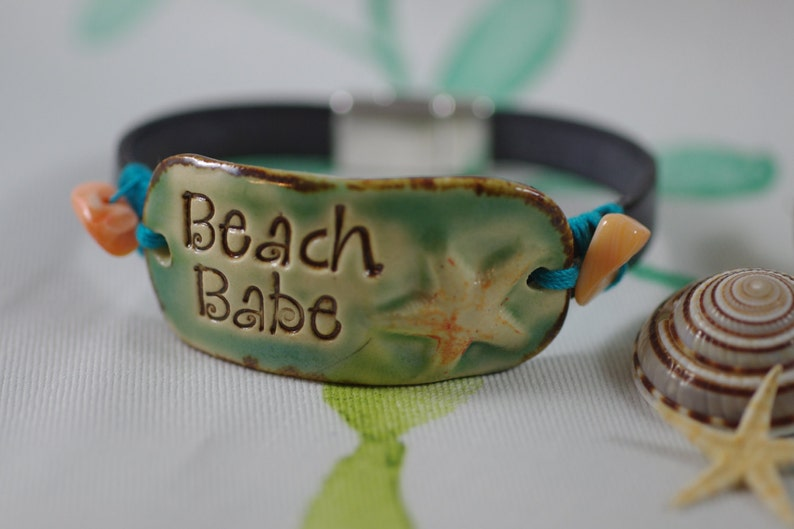 Beach Babe Leather Bracelet with Starfish  Leather Jewelry  image 0